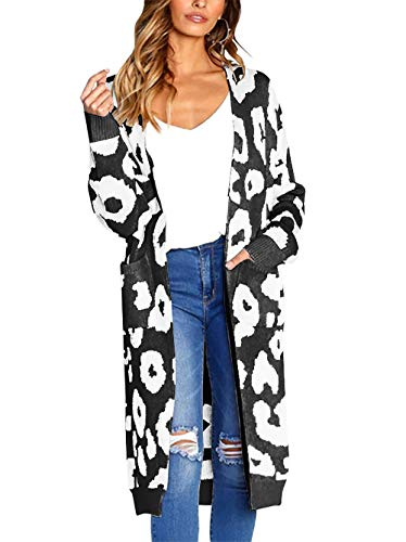 BTFBM Women Long Sleeve Open Front Leopard Knit Long Cardigan Casual Print Knitted Maxi Sweater Coat Outwear with Pockets (Black, Large)