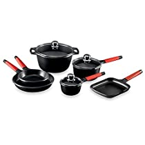Fundix by Castey 9-Piece Cookware Set with Red Handles