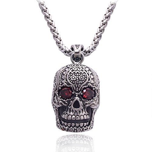 Jane Stone Fashion Pendant Necklace Stainless Steel Big Gothic Punk Human Skull Charm Red Zirconia 20