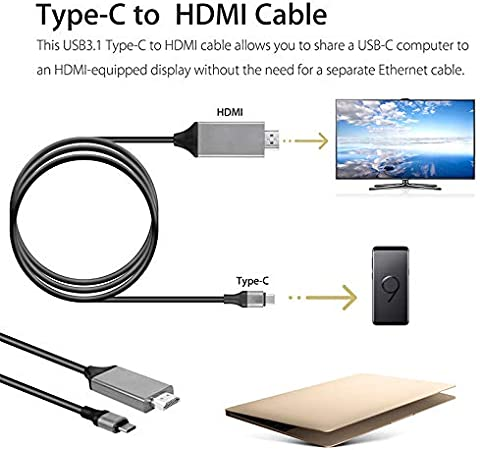 Note 9 PC Aoile Type C to HDMI Cable,HDTV AV TV Cable Adapter for Samsung Galaxy S8 S9 S9