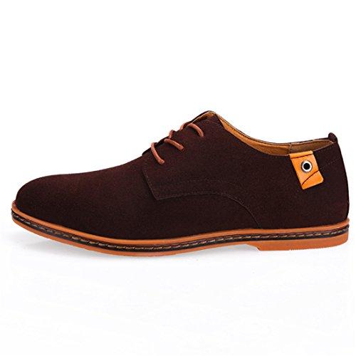 qianchuangyuan Chaussures de Ville Pour Hommes Neuves Cuir PU à Lacets Bout D'Affaires Oxfords Chaussures Marron KAsPaL