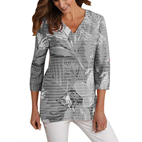 Women Plus Size Tops Beach Print Three Quarter Sleeve V-Neck Pullover Tops Shirt Tee Sweatshirts by Gyouanime Gray