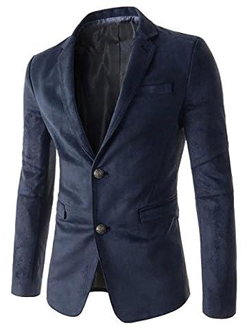 Generic Men Business Slim Fit Two-button Faux Suede Blazer Jackets Navy Blue L - Faux Suede Blazer