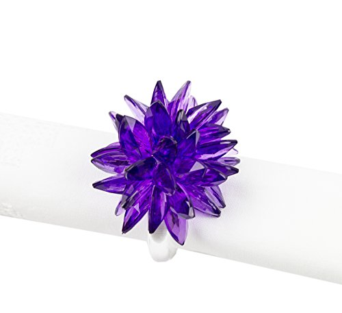 Fennco Styles Crystal Design Collection Napkin Ring - Set of 4 (Purple Crystal Flower) 4 Crystal Napkin Rings