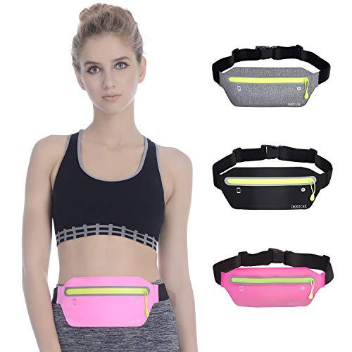 DKRUCAK Ultra Slim Running Waist Pack for Women Men Fitness Exercise Marathon Sport Packs Carrying Phones iPhone Android