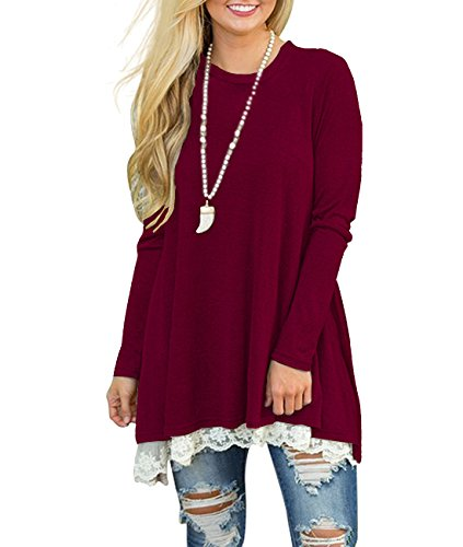 MOLERANI Women's Basic Long Sleeve Casual Loose T-Shirt Tunic Top Blouse Wine Red XL