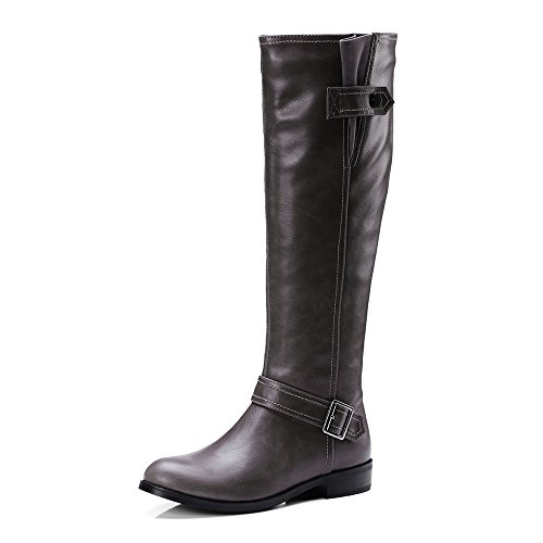 Women's Knee Shoe'N High Winter Gray Boots Casual Tale Calf Buckle Riding Wide wtt1qx5r