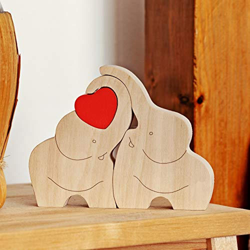 IK Style Symbol of Love Longevity and Unity - Loving Wooden Love Elephant Couple with Red Hearth - Elephant Ornament Decor with Message of Love (Elephant Wooden Ornaments)