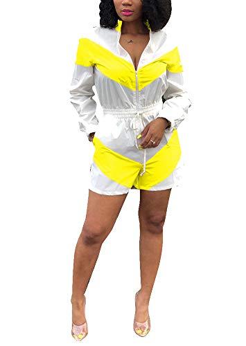 (Salimdy Women Casual V Neck Collar Stripe Long Sleeve Zipper Elastic Waist Windbreaker Romper Jumpsuit Playsuit Yellow)