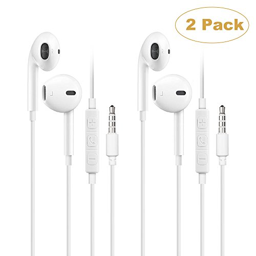 Earbuds with Mic, 2 Pack Wired In-ear Earphone with Reomote control and Volume Control iPhone iPad Samsung Galaxy and More