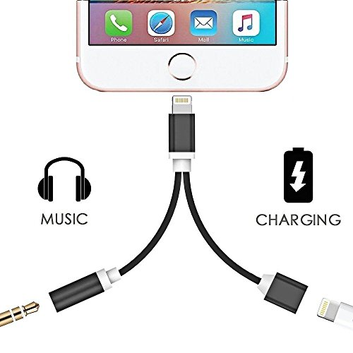 2 in 1 Lightning iPhone 7 Adapter, 3.5mm Audio Adapter and C