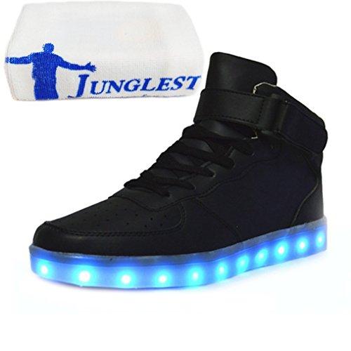 (Present:kleines Handtuch)JUNGLEST® Brinny 7 Farbe Sneaker USB Aufladen LED Leuchtend Fasching Partyschuhe Unisex Sportschuhe Turnschuhe Laufschuhe f Schwarz