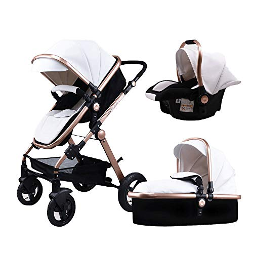 Baby Stroller,Babyfond High Landscape Folding Baby Carriage Travel System Pram Trolley Pushchair with Safety Infant Car Seat,Lightweight Bassinet for 0-3Years Newborn (White-t900) (Seat 1 System Car)