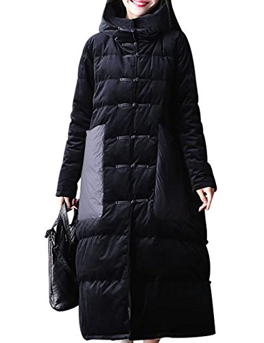Zoulee Women's Long Maxi Chinese Frog Down Coat with Hood Front Two Pockets Style 1 Size XL by Zoulee