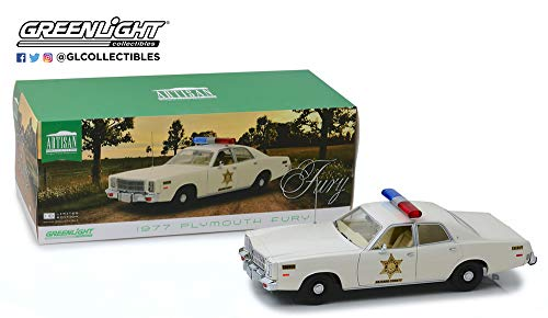 New DIECAST Toys CAR Greenlight 1:18 Artisan Collection - 1977 Plymouth Fury - Hazzard County Sheriff 19055 (Best Cars Of 1977)