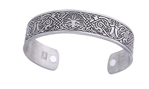 (fishhook Viking Tree of Life Raven Talisman Magnetic Bangle Bracelet for Easing Fatigue (Antique Silver))