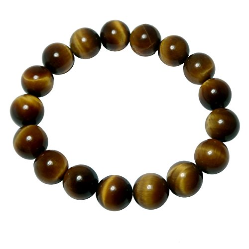 SatinCrystals Tigers Eye Golden Bracelet 9mm Boutique Courage Stone Real Round Stretch Handmade Men Women Brown B01 (7.25