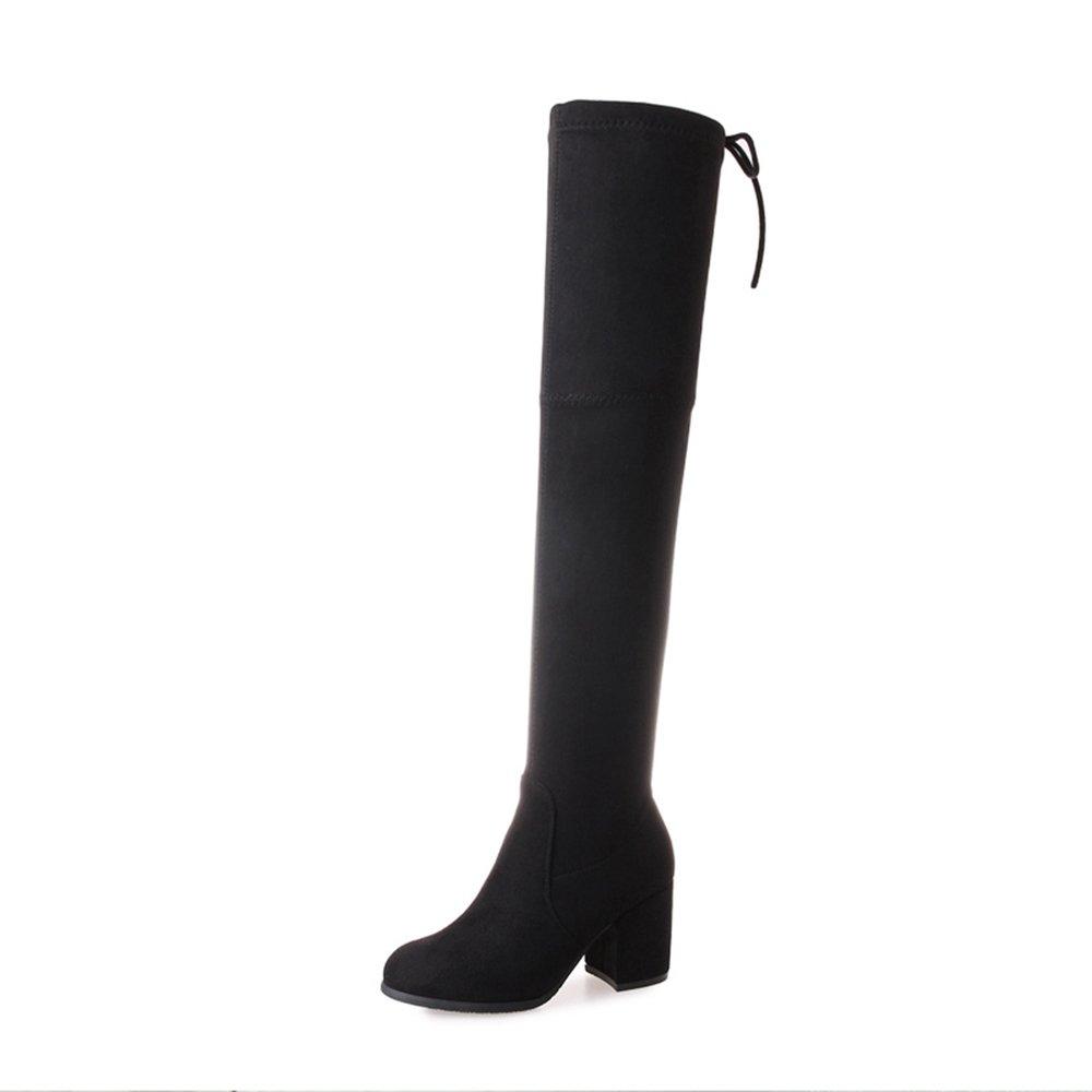 LVZAIXI Schuhe Damenschuhe Wintermode Stiefel Slouch Ferse Oberschenkel Hohe Stiefel Für Casual schwarz Gemütlich (Farbe   Schwarz, Größe   EU38 UK5.5 CN38)