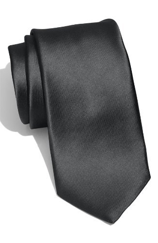 Black Slim Tie (New Skinny Solid Black 2 Inch Necktie Tie