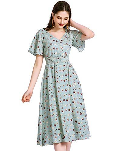 Gardenwed Floral Print Chiffon Summer Dresses for Women Flowy Midi Sundress Bohemian Beach Party Dress Blue Little Flower 2XL