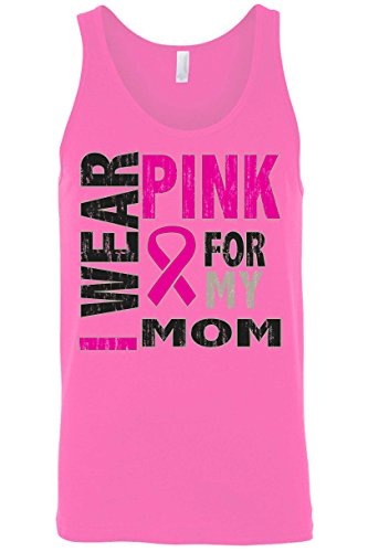 Impress For Less USA Men's Tank Top Breast Cancer Awareness I Wear Pink For My Mom: Neon Pink (Medium)