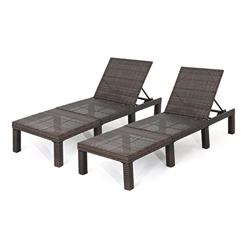 Great Deal Furniture 303855 Joyce Outdoor Multibrown Wicker Chaise Lounge Without Cushion (Set of 2)