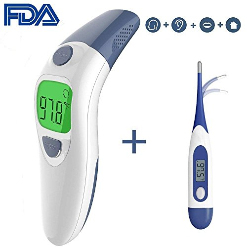 Besyoyo Clinical Ear and Forehead Thermometer,FDA Approved Infrared Digital Thermometer,Fast and Accurate Baby Thermometer with Fever Alarm for Kids & Adults(Included Battery and Oral Thermometer)