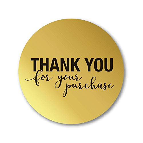 1.25 Round Gold Foil Thank You for Your Purchase Stickers 1000 Labels per Roll