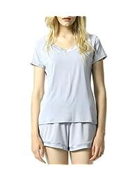 L&Y Women's Short Sleeve Pajama Set Loungewear Soft Sleepwear Pj Set S-XL