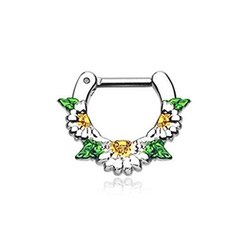 Inspiration Dezigns Nose Septum Clicker Daisy Flower Garden Icon (Flower Septum Ring)