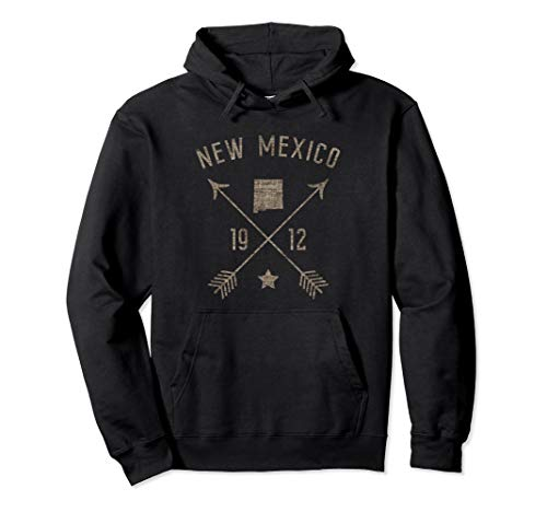 Vintage New Mexico Distressed Home State Map Boho Arrows Pullover Hoodie