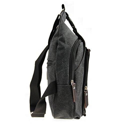 Männer Herren Umhängetasche Schleuder Tasche Koreanische Canvas Brusttasche Schultasche Tragetasche Brustbeutel Crossbody Bag Multifunktionale Tasche für Outdoor-Sport und Arbeit Schwarz rz3myYiM