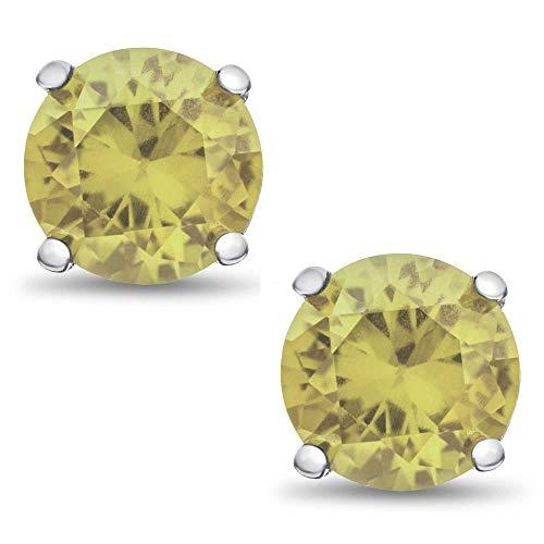 - Genuine 5mm Brilliant Round Cut Lemon-Lime Quartz Rhodium Plated Sterling Silver Basket Set Stud Earrings