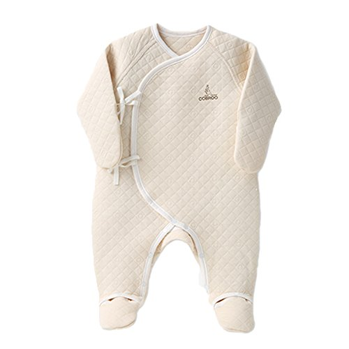 (COBROO 100% Cotton Baby Footie Pajamas with Mittens Side-Belt Infant Footed Sleeper Cozy Warm Baby Outfits 0-3 Months Khaki)