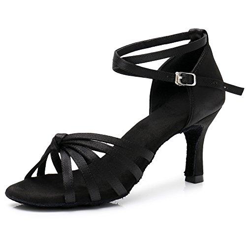 Latino Zapatos Satén Hroyl Salón Zapatillas Mujer 217 Negro 7cm Baile Lp De Yp14wq0