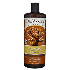 Dr. Woods Pure Almond Liquid Castile Soap 95 All-purpose, exfoliating and moisturizing cleansing soap which is great for everyday use as a facial cleanser, body wash, shampoo, shaving lather, and acne care; Pure Almond Oil elevates the senses, soothes irritated skin and helps maintain your skins natural balance for a healthy glow The thicker consistency not normally found in liquid castile soap works great so the soap doesn't run out of your hand or off the loofah before being able to use it Perfect for All skin types, from dry to oily, problem skin to clear, young to aging complexions; This soap gently exfoliates to reveal your healthy skin and clear blemishes