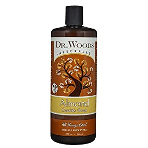 Dr. Woods Pure Almond Liquid Castile Soap 2 All-purpose, exfoliating and moisturizing cleansing soap which is great for everyday use as a facial cleanser, body wash, shampoo, shaving lather, and acne care; Pure Almond Oil elevates the senses, soothes irritated skin and helps maintain your skins natural balance for a healthy glow The thicker consistency not normally found in liquid castile soap works great so the soap doesn't run out of your hand or off the loofah before being able to use it Perfect for All skin types, from dry to oily, problem skin to clear, young to aging complexions; This soap gently exfoliates to reveal your healthy skin and clear blemishes