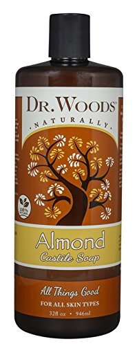 Dr. Woods Pure Almond Liquid Castile Soap 1 All-purpose, exfoliating and moisturizing cleansing soap which is great for everyday use as a facial cleanser, body wash, shampoo, shaving lather, and acne care; Pure Almond Oil elevates the senses, soothes irritated skin and helps maintain your skins natural balance for a healthy glow The thicker consistency not normally found in liquid castile soap works great so the soap doesn't run out of your hand or off the loofah before being able to use it Perfect for All skin types, from dry to oily, problem skin to clear, young to aging complexions; This soap gently exfoliates to reveal your healthy skin and clear blemishes