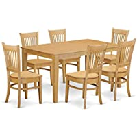 East West Furniture CAVA7-OAK-W 7 Piece Dining Table and 6 Chairs Set