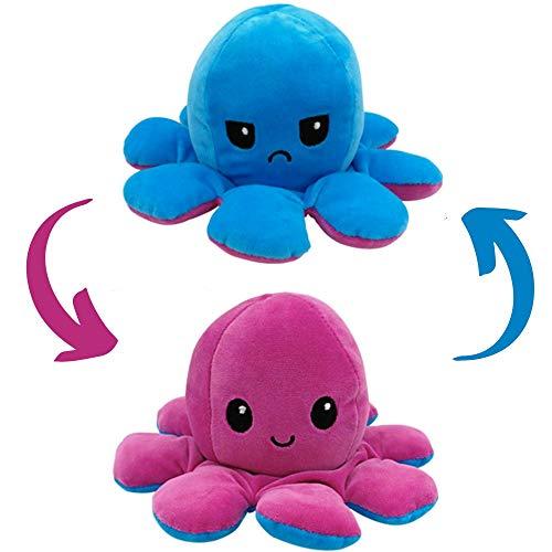 Blue-Yellow babaPLUSH Octopus Reversible Plushie Plush Emotion Mood Octopus Toy Flip Moody Happy Sad Angry Inside Out