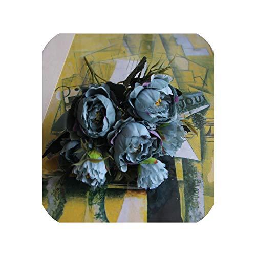 1 Bouquet European Pretty Wedding Mini Peony Artificial Silk Flower Bouquet Flores Bride,Blue -