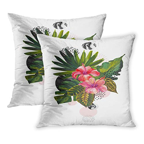 - Emvency Throw Pillow Cover Pack of 2, Watercolor Tropical Flowers on Geometric Marbling Doodle Fan Palm Monstera Leaves Geometrical Shapes Home Decor Square Size 20 x 20 Inches Cushion Pillowcase