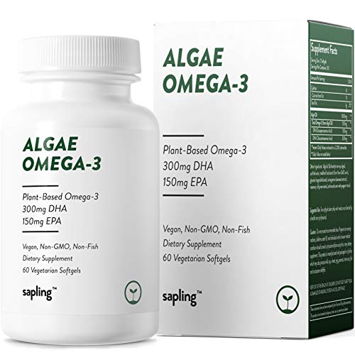 Vegan Omega 3 Supplement - Plant Based DHA & EPA Fatty Acids Alternative to Fish Oil - Supports Heart, Brain, Joint Health - Sustainably Sourced from Algae. Fish Oil Free for Men & Women - 60 Softgels