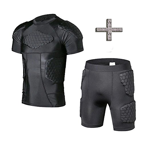 TUOY Mens Padded Compression Shirt Protective T Shirt Rib Chest Protector for Football Paintball Baseball