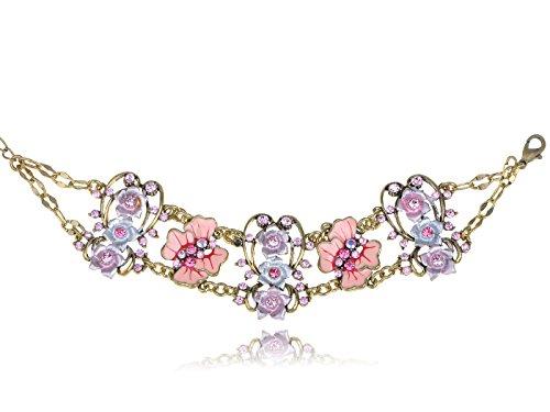 Alilang Vintage Gold Tone Pink Rose Lavender Crystal Rhinestone Enamel Chain Bracelet -