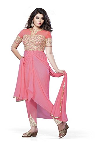 Vibes Women's Gorgette Salwar Suit Dress Material – Free Size, Pink