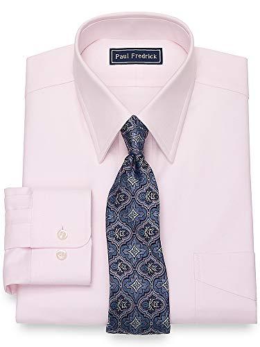 Paul Fredrick Men's Cotton Solid Color Button Cuff Dress Shirt Pink 18.0/36 (Paul Fredrick Trim)