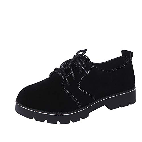 Leather Ankle Boots for Women Cow Leather Lace up Fashion Flats Short Booties Casual Shoes (Black -1, -