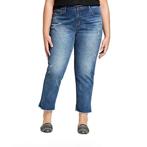 (Universal Thread Women's Plus Size Roll Cuff Boyfriend Crop Jeans Medium Wash (24W))