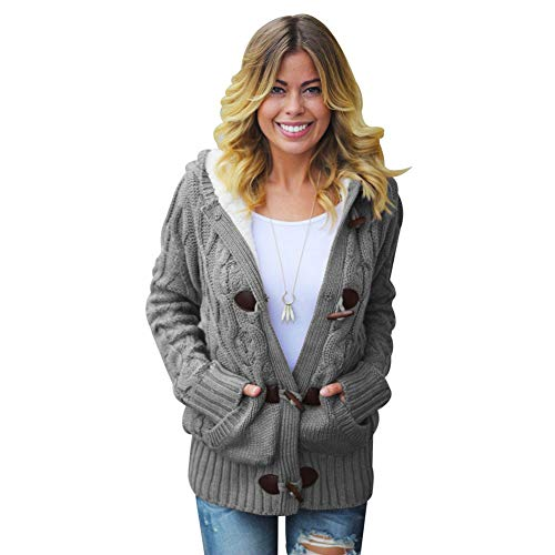 Lunghe Lunghe Lunghe Pocket Cardigan Wool Inverno Inverno Inverno Giacca Tinta Gray A Donna Maniche Dark Chunky Horn Sweater Maglieria Unita Casual Buckle Donna Hooded TIANBN Autunno f48xqap8